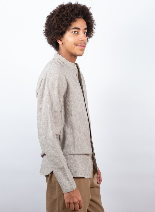 Placket grandad shirt bruin streep