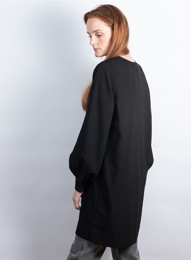 Heavy crepe dress zwart