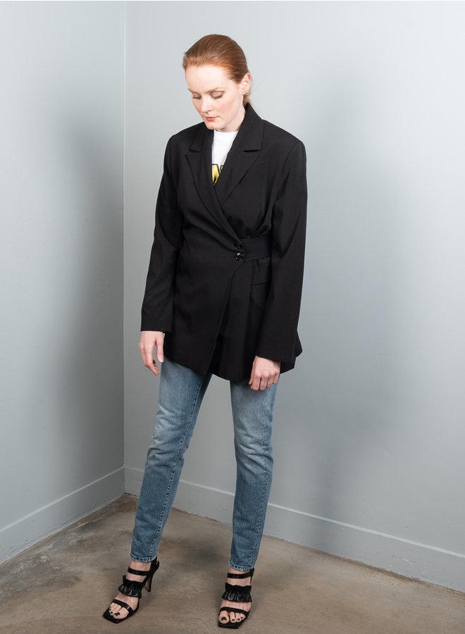 Melange suiting blazer black