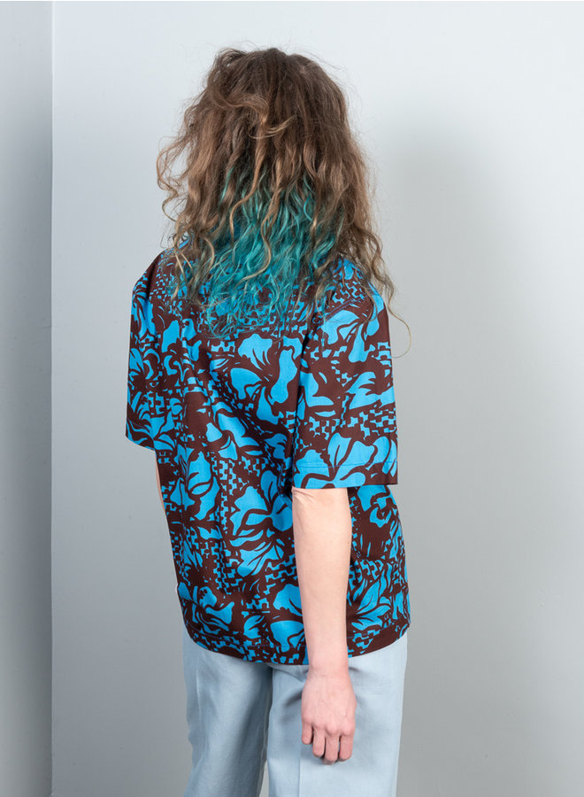 Yuppie blouse blauw dessin