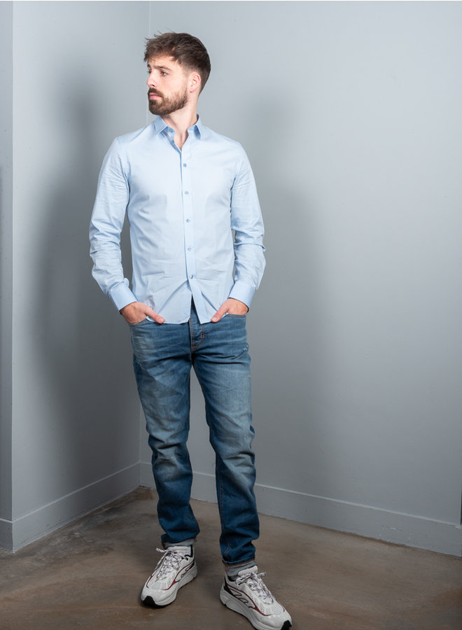 M. Paul stretch overhemd licht blauw
