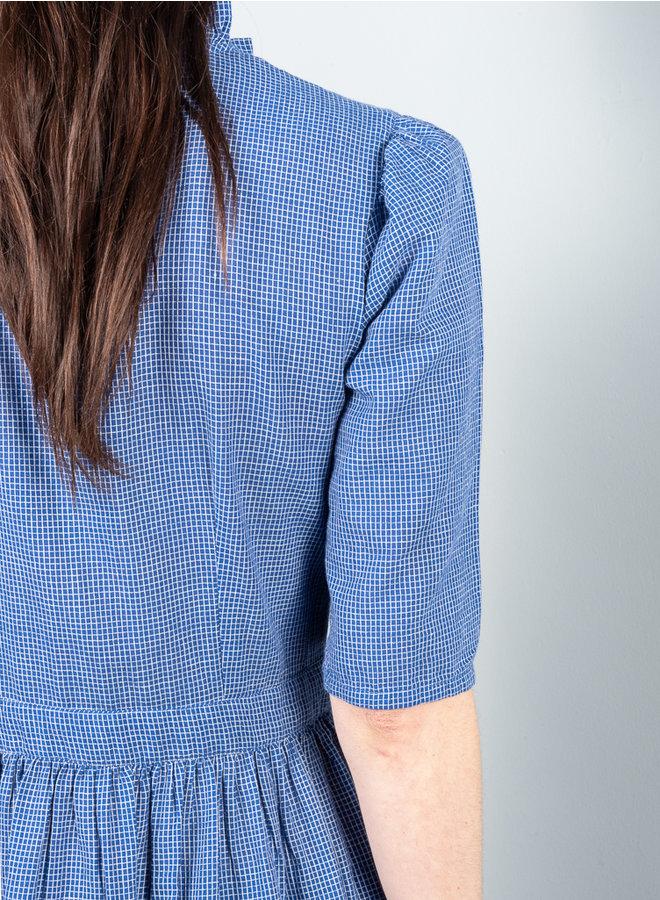 Romarine jurk blauw ruit