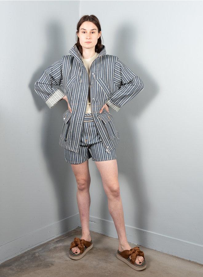 F5838 shorts indigo stripe
