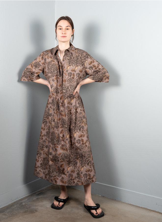 F5915 jurk print bruin