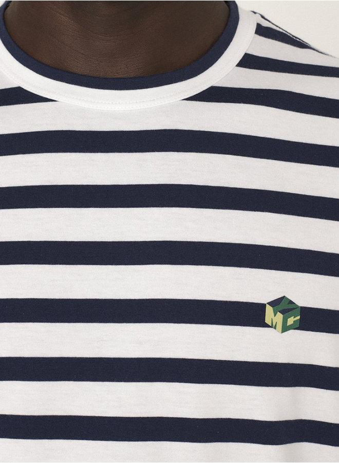 P6QAT t-shirt ecru-navy men