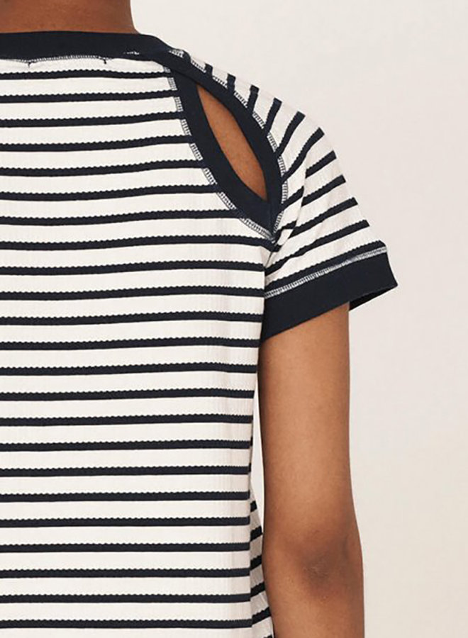 Q6QAJ t-shirt wit-navy women