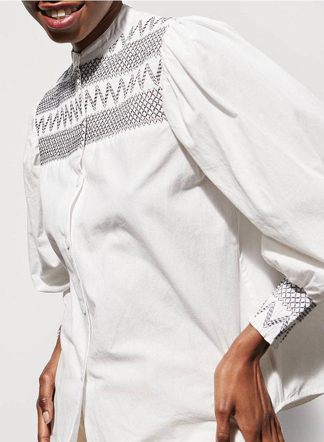 Cerise blouse smock wit