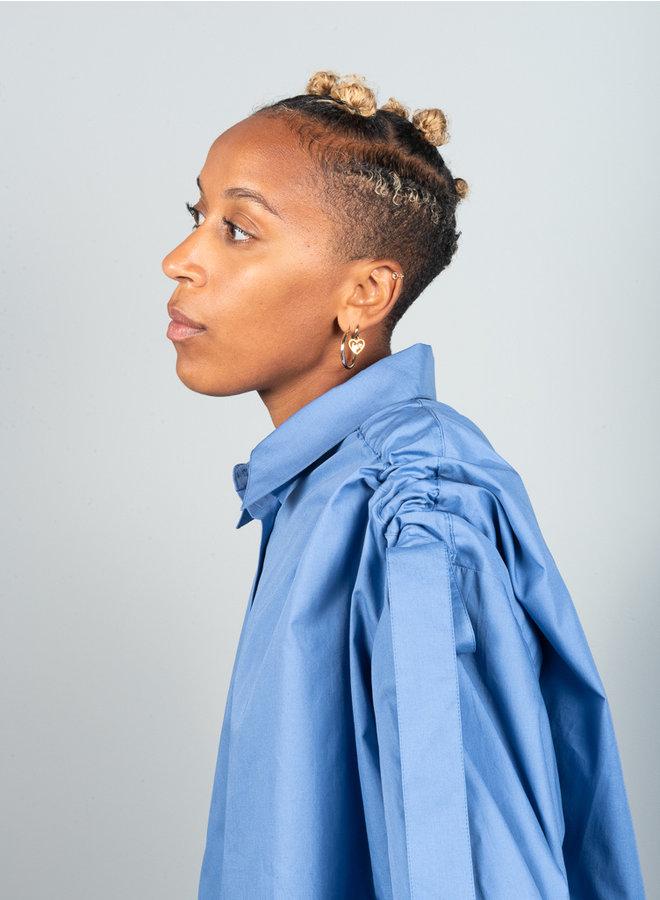 Slub shirt blauw