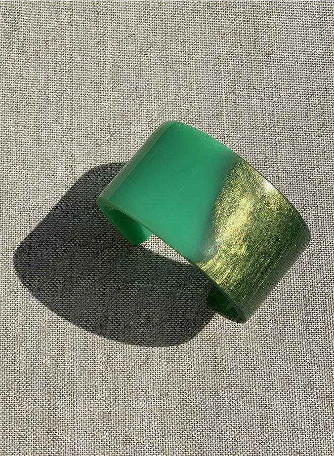 Armband Love you to pieces groen/kaki parelmoer