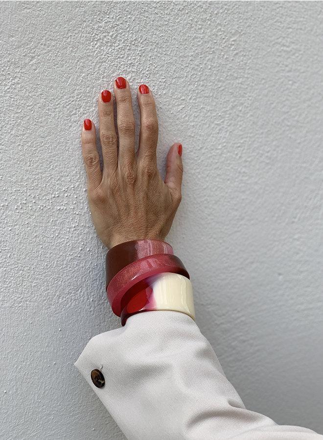 Armband Olivia bruin/roze