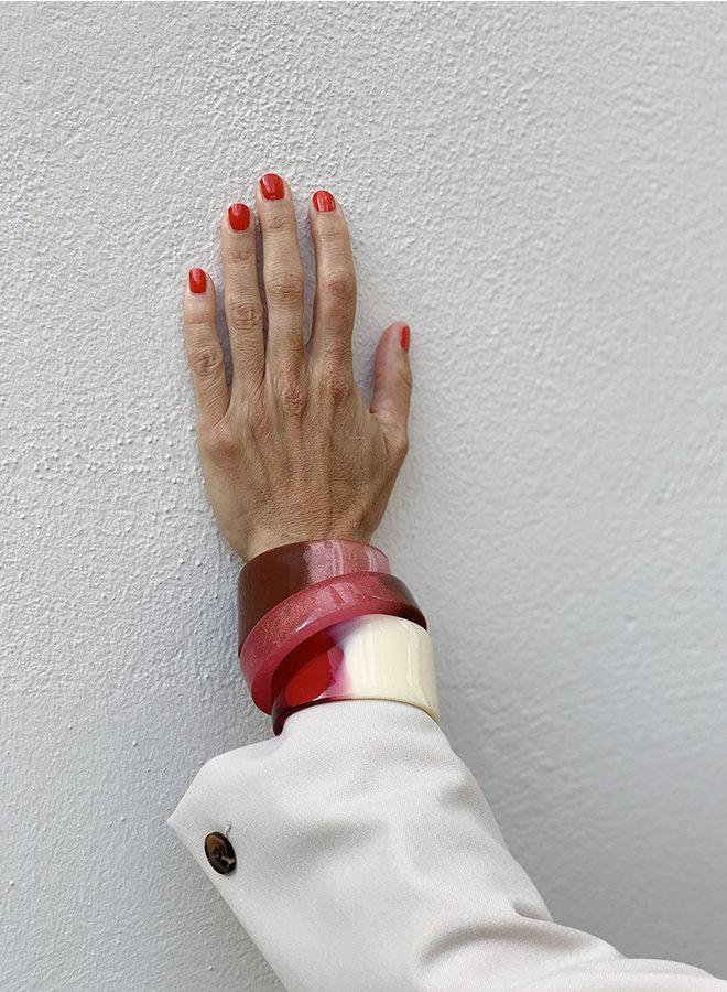 Armband Soft hug rood/creme