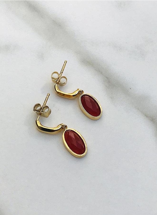 KO3 red agate earring