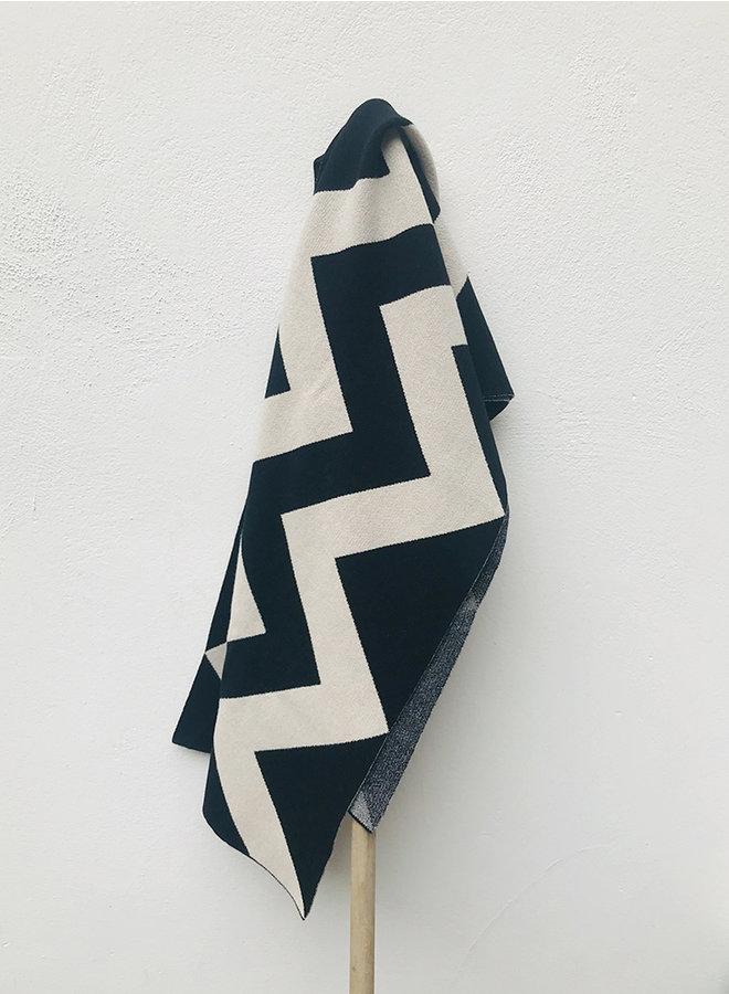 Vertical zigzag sjaal zwart