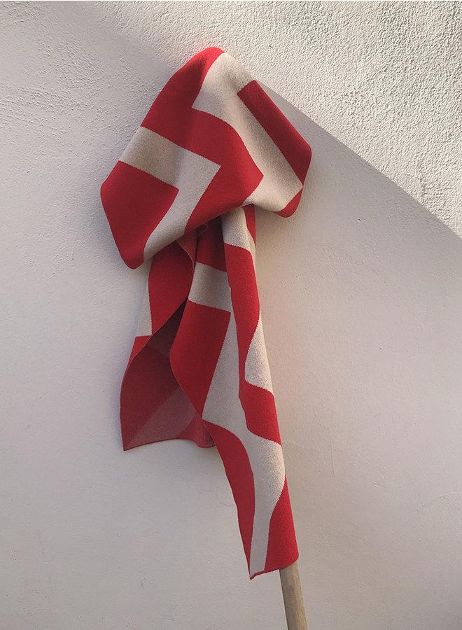 Vertical zigzag sjaal rood