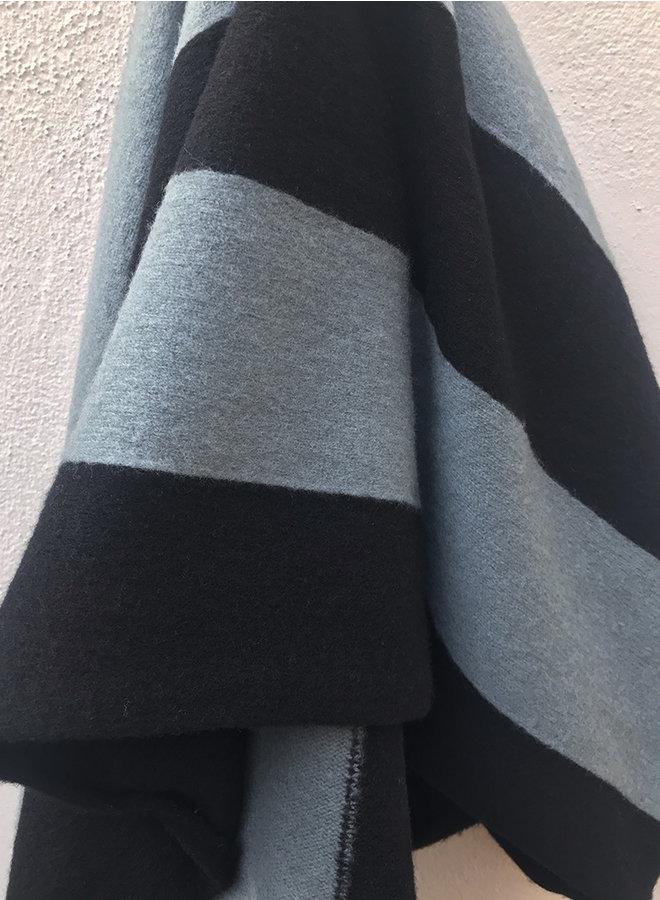 Brushed vertical stripe sjaal zwart