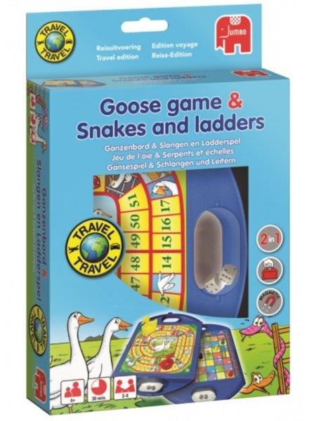 Jumbo Ganzenbord & Slangen en Ladders reisspel