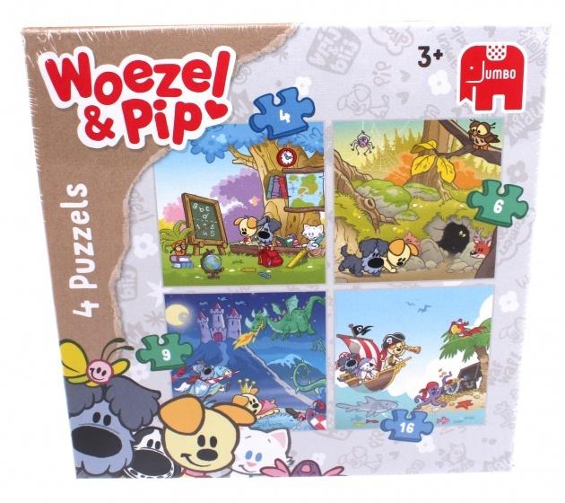 Jumbo Woezel & Pip 4-in-1 puzzel 35 stukjes