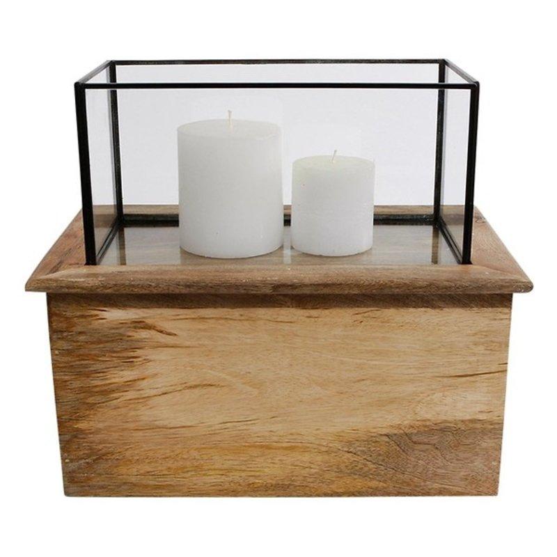LUVA Windlicht / lantaarn rechthoek mangohout met glas in lood