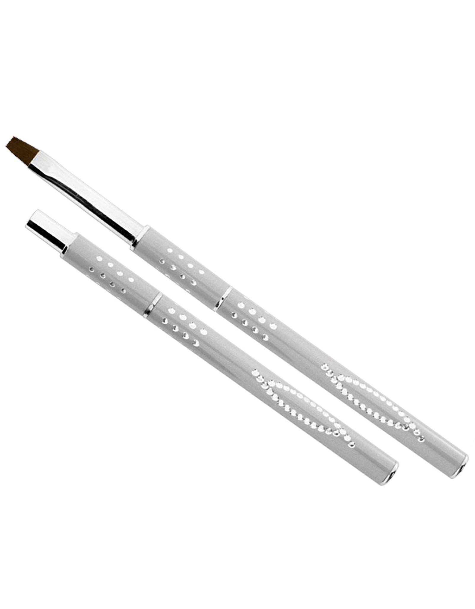 Mega Beauty Shop® Gel-Penseel Zilver nr. 8 met steentjes
