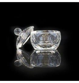 Merkloos Glazen dappenglaasje met deksel