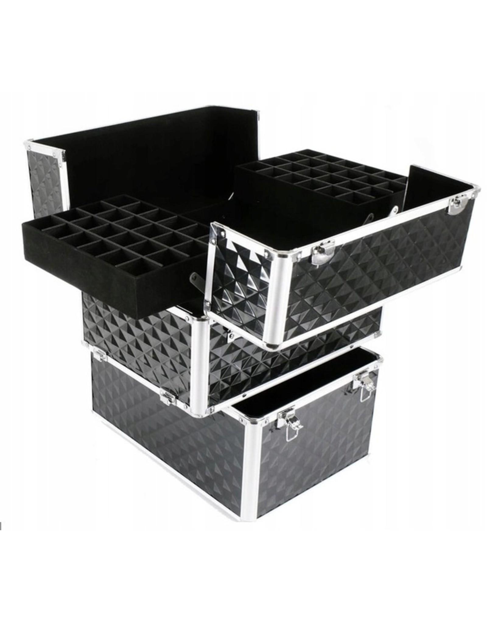 Mega Beauty Shop® Koffer groot 3D zilver met opbergvakken