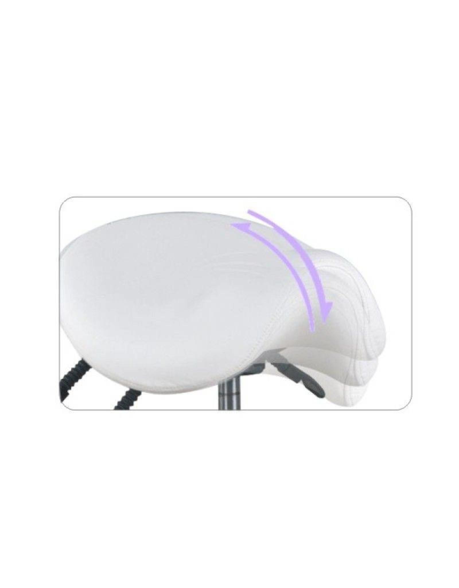 Merkloos Luxe zadelkruk met rugleuning en Bump-Up systeem - Wit