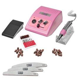 Mega Beauty Shop® Nagelfrees JD500  35Watt- Roze + 3 trapeze vijlen, bitsetje en 30 schuurrolletjes  MBS®