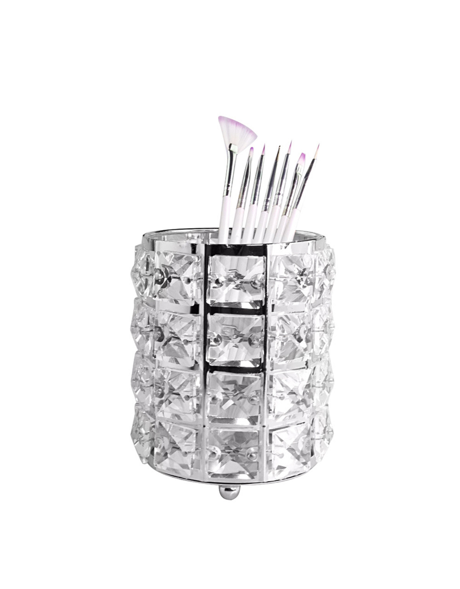 Mega Beauty Shop® Make up borstel & penseel houder - zilver