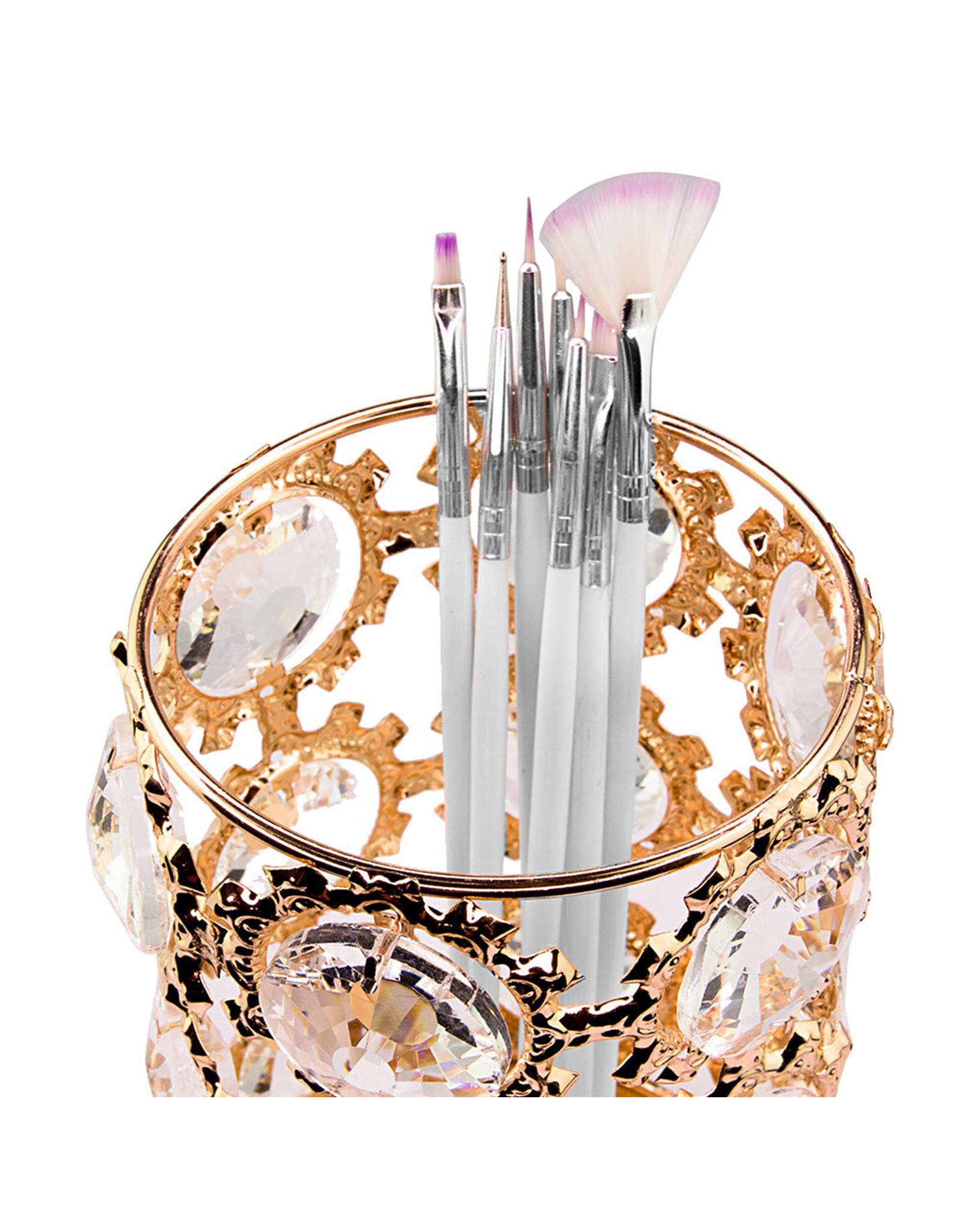 Mega Beauty Shop® Make up borstel & penseel houder groot - gold