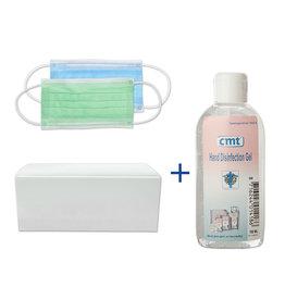 CMT Mondkapjes 10 stuks & Hand Desinfectie alcoholgel 100 ml. (01)