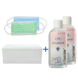 CMT Mondkapjes 10 stuks & 2x 100ml. Hand Desinfectie alcoholgel  (02)