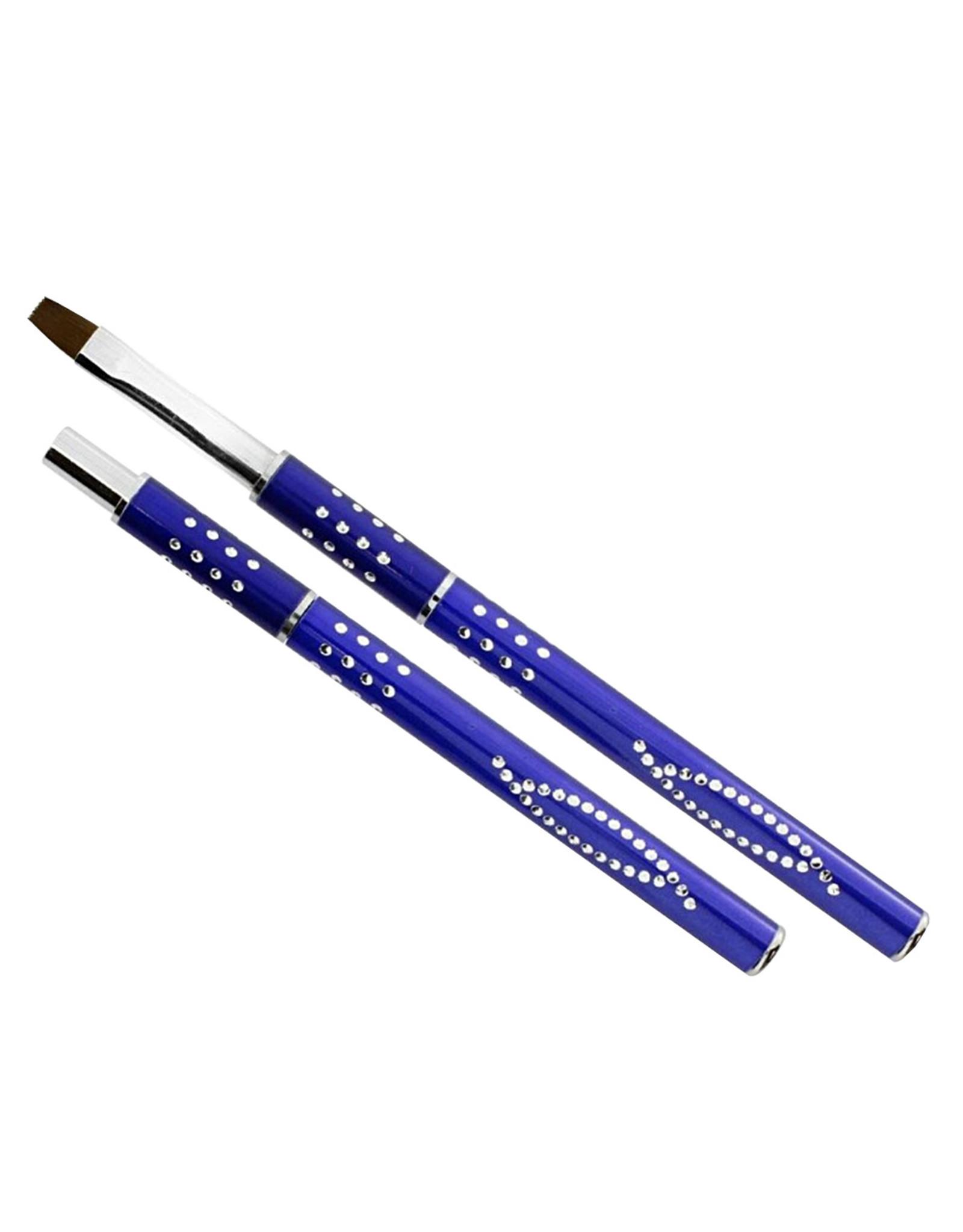 Merkloos Gel-Penseel Blauw nr. 8 met steentjes