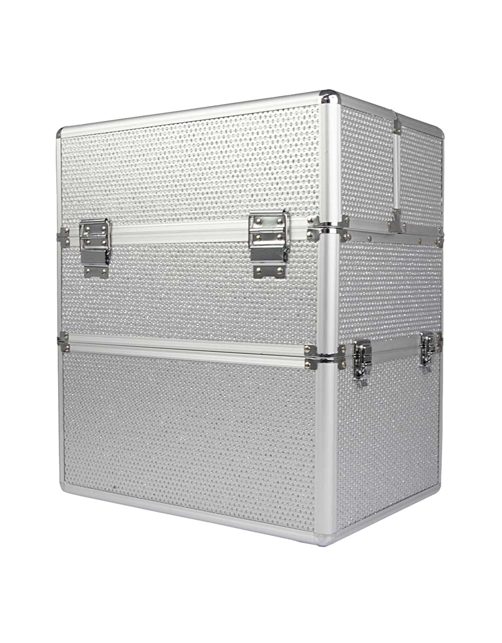 Mega Beauty Shop® Koffer groot Zilver met stras