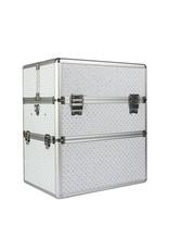 Mega Beauty Shop® Koffer groot Wit met zilveren strass hartjes