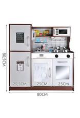 Mega Beauty Shop® Houten Kinderkeuken - Grote houten Keukenset - Kinder Speelgoed Keuken - Compleet-Wit/Bruin