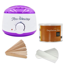 Mega Beauty Shop® Waxapparaat starterset  100Watt  -Wax Ontharen Apparaat - Ontharingsset - Waxverwarmer - Wit/Paars
