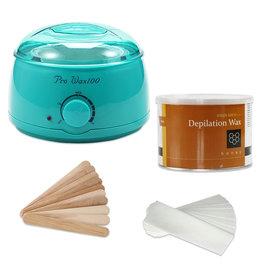 Mega Beauty Shop® Waxapparaat starterset  100Watt  -Wax Ontharen Apparaat - Ontharingsset - Waxverwarmer -Turquoise
