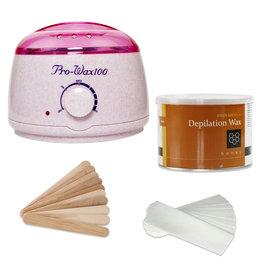 Mega Beauty Shop® Waxapparaat starterset  100Watt  -Wax Ontharen Apparaat - Ontharingsset - Waxverwarmer-Creme/Roze