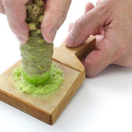 Fresh wasabi rhizome, wasabi leaves, wasabi flowers