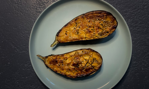 Eggplant lacquered in miso