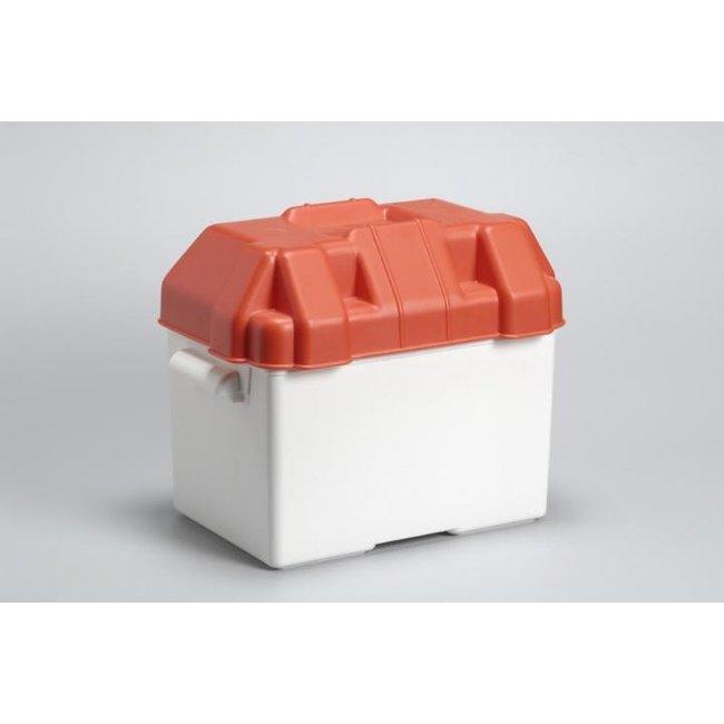 Witte accubak met rode deksel