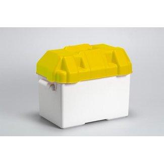 Witte accubak met gele deksel