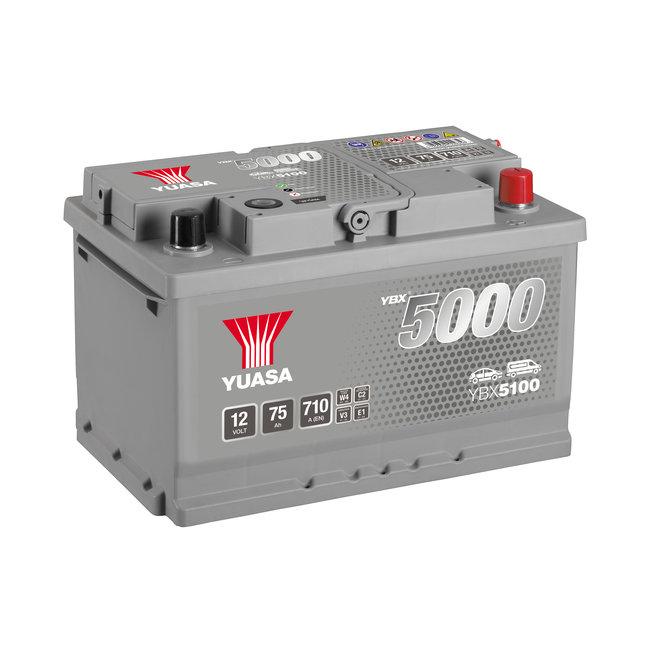 Yuasa YBX5100 12V 75Ah 710A Silver High Performance Accu