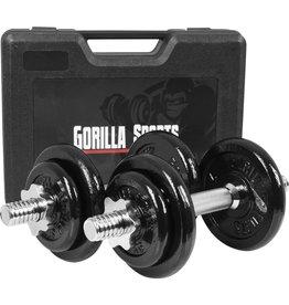Gorilla Sports Dumbellset 20 kg Gietijzer incl. Koffer