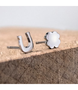 Ponytail & co Four-leaf clover earrings with horseshoe