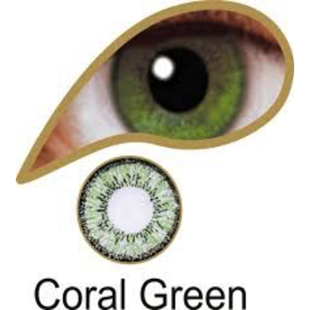 Mesmereyez CORAL GREEN ACCESSORIES 3 MONTH GREAT FOR BROWN EYES