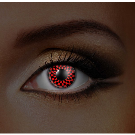 Funky Cosmetic IGLOW - Checkers (Red and Black version) UV Neon Eye accessories 3 MONTH