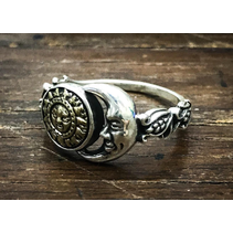 SUN AND MOON RING IN 925 SILVER WITH BRASS DETAIS BY GOOD VIBRATIONS
