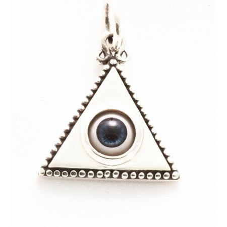 GOOD VIBRATIONS SILVER TRIANGLE WITH BLUE EYE PENDANT BY  GOOD VIBRATIONS
