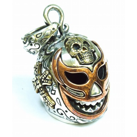 GOOD VIBRATIONS MEXICAN MASK PENDANT CROSSES ROSE GOLD INLAY